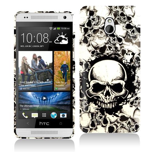 HTC One Mini Black White Skulls Hard Rubberized Design Case Cover