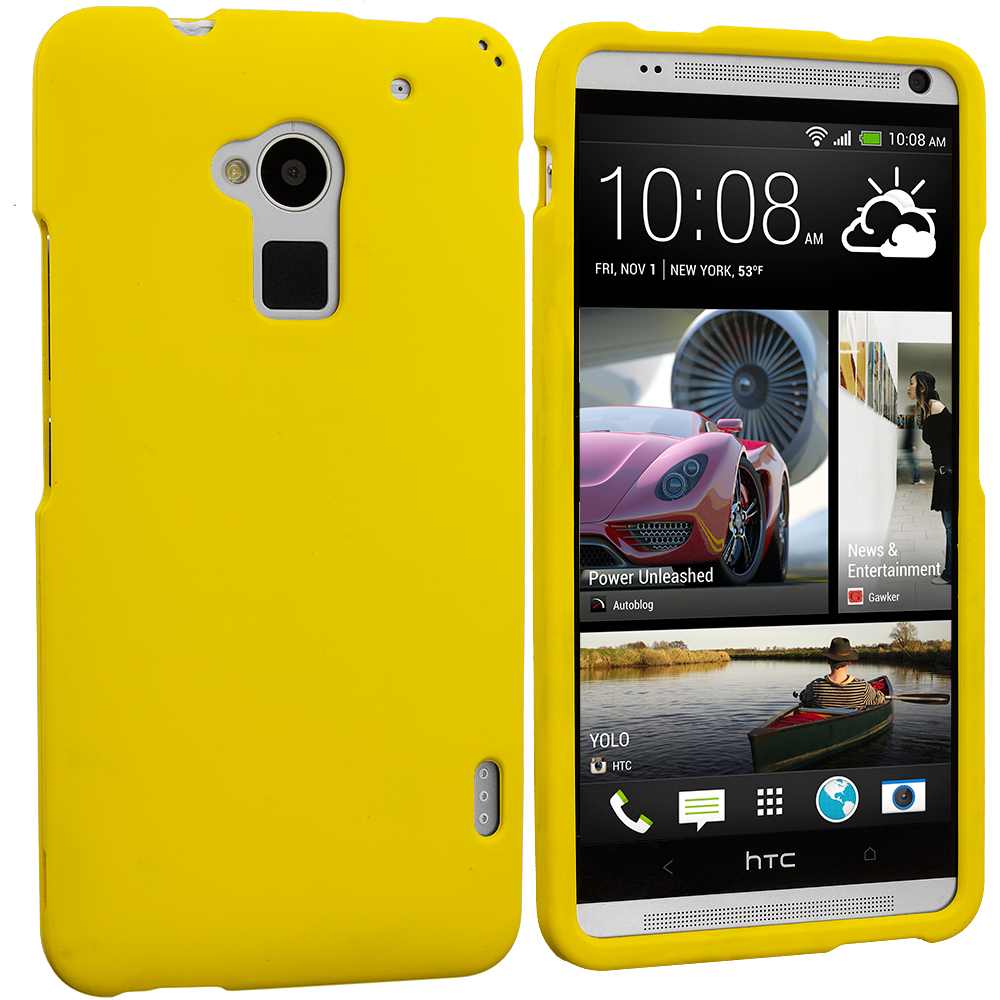 HTC One Max Yellow Hard Rubberized Case Cover