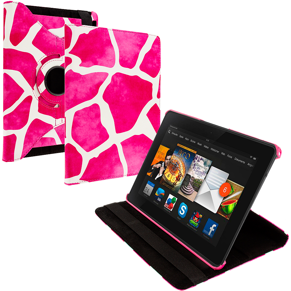 Amazon Kindle Fire HDX 7 Pink Giraffe 360 Rotating Leather Pouch Case Cover Stand