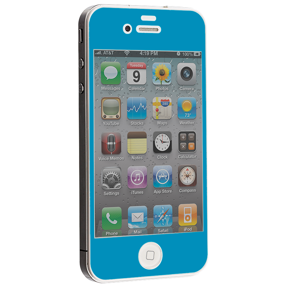 Apple iPhone 4 / 4S Baby Blue LCD Tempered Glass Screen Protector