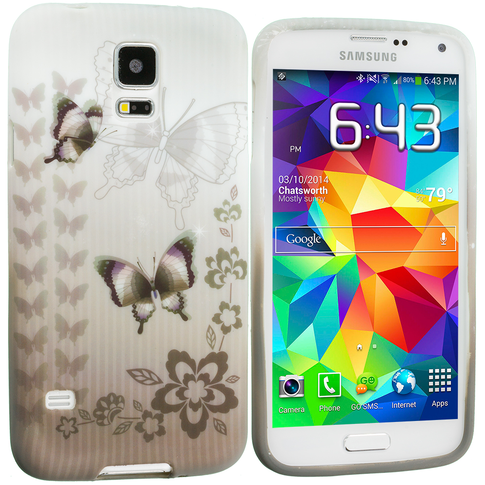 Samsung Galaxy S5 Black Butterfly TPU Design Soft Case Cover