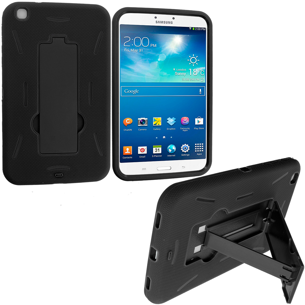 Samsung Galaxy Tab 3 8.0 Black / Black Hybrid Heavy Duty Hard/Soft Case Cover with Stand