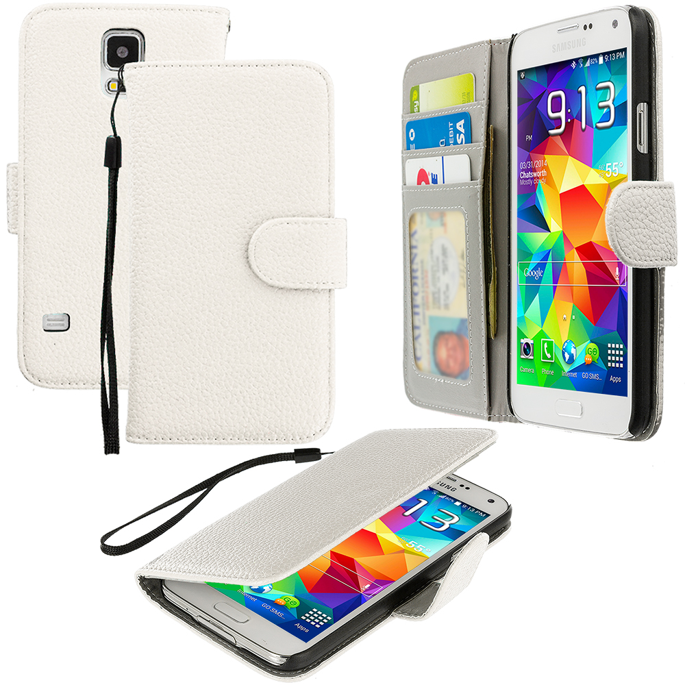 Samsung Galaxy S5 2 in 1 Combo Bundle Pack - Black White Leather Wallet Pouch Case Cover with Slots : Color White