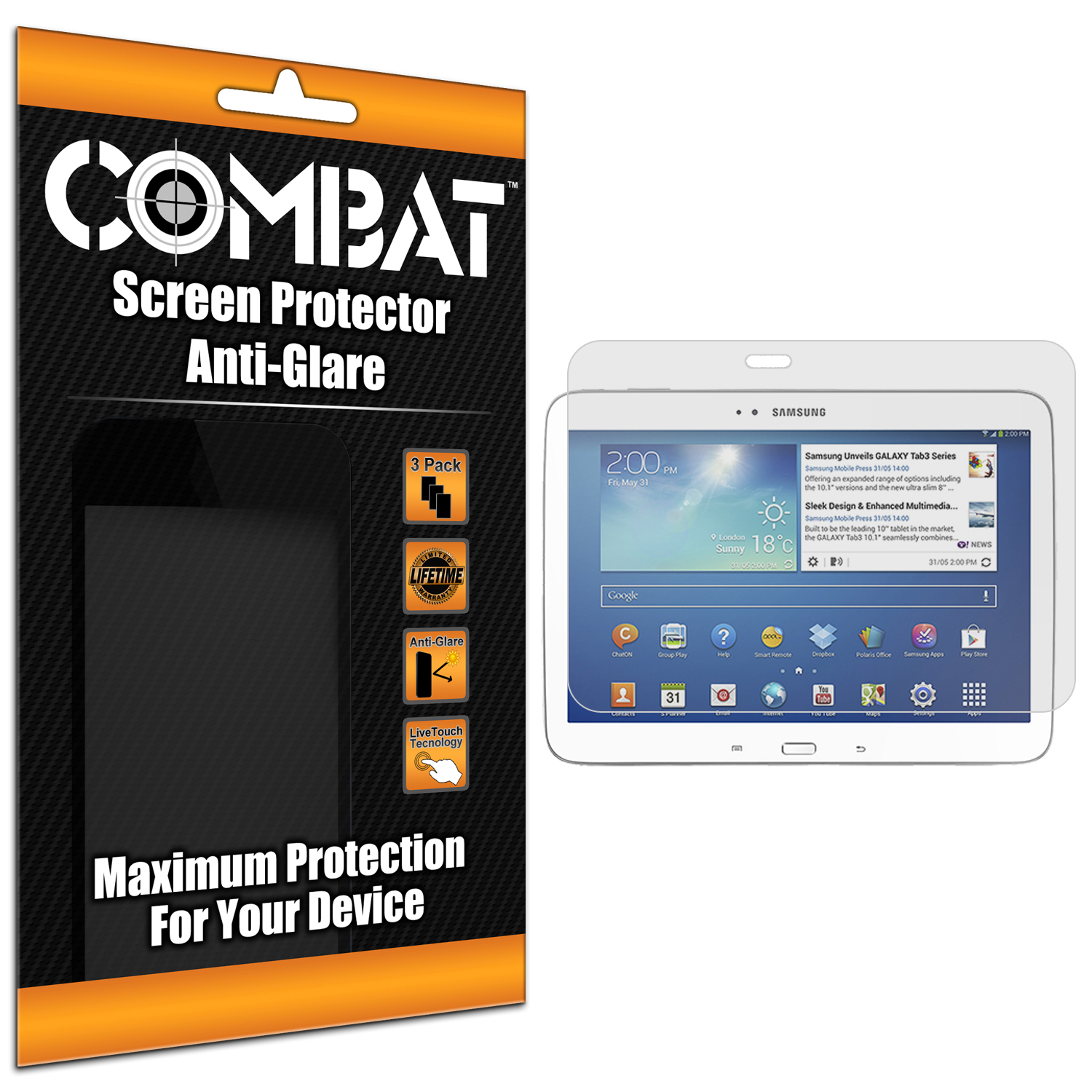 Samsung Galaxy Tab 3 10.1 Combat 3 Pack Anti-Glare Matte Screen Protector