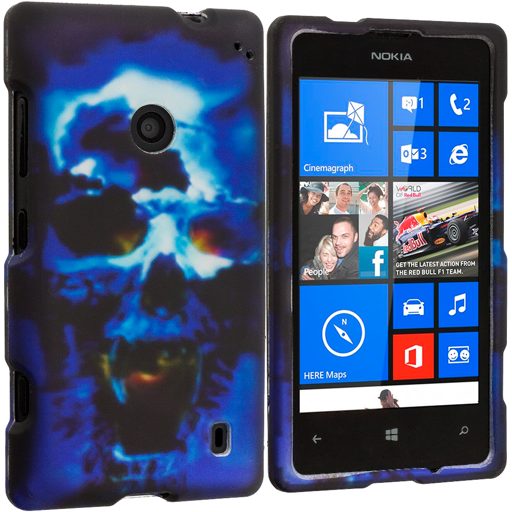 Nokia Lumia 521 Blue Skulls 2D Hard Rubberized Design Case Cover