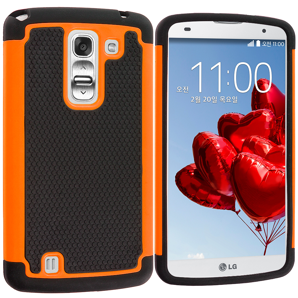 LG G Pro 2 Black / Orange Hybrid Rugged Hard/Soft Case Cover