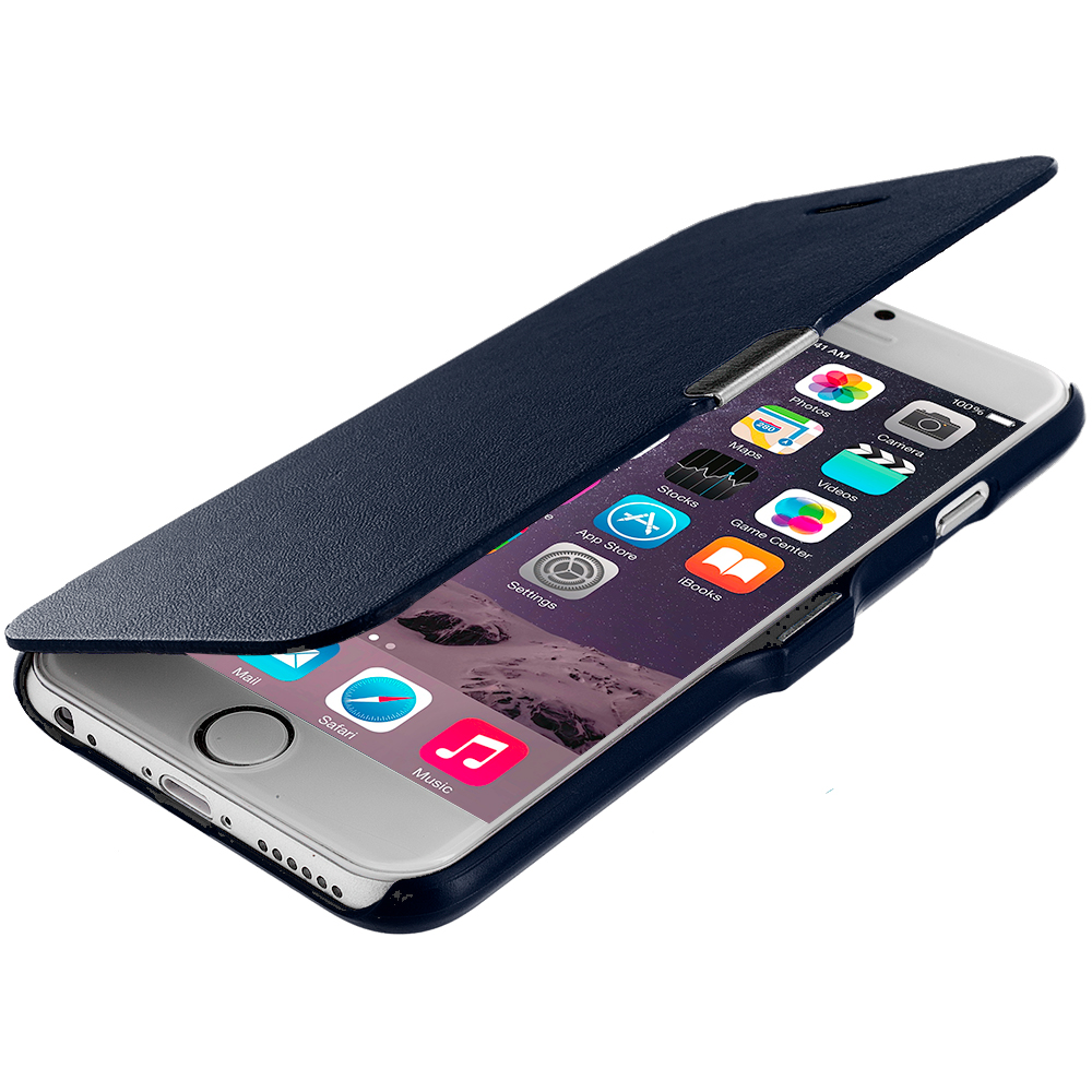 Apple iPhone 6 Plus 6S Plus (5.5) Navy Blue Magnetic Flip Wallet Case Cover Pouch