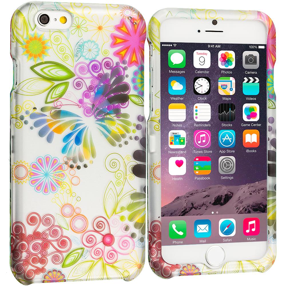 Apple iPhone 6 Plus 6S Plus (5.5) Flower Rainbow Colorful 2D Hard Rubberized Design Case Cover