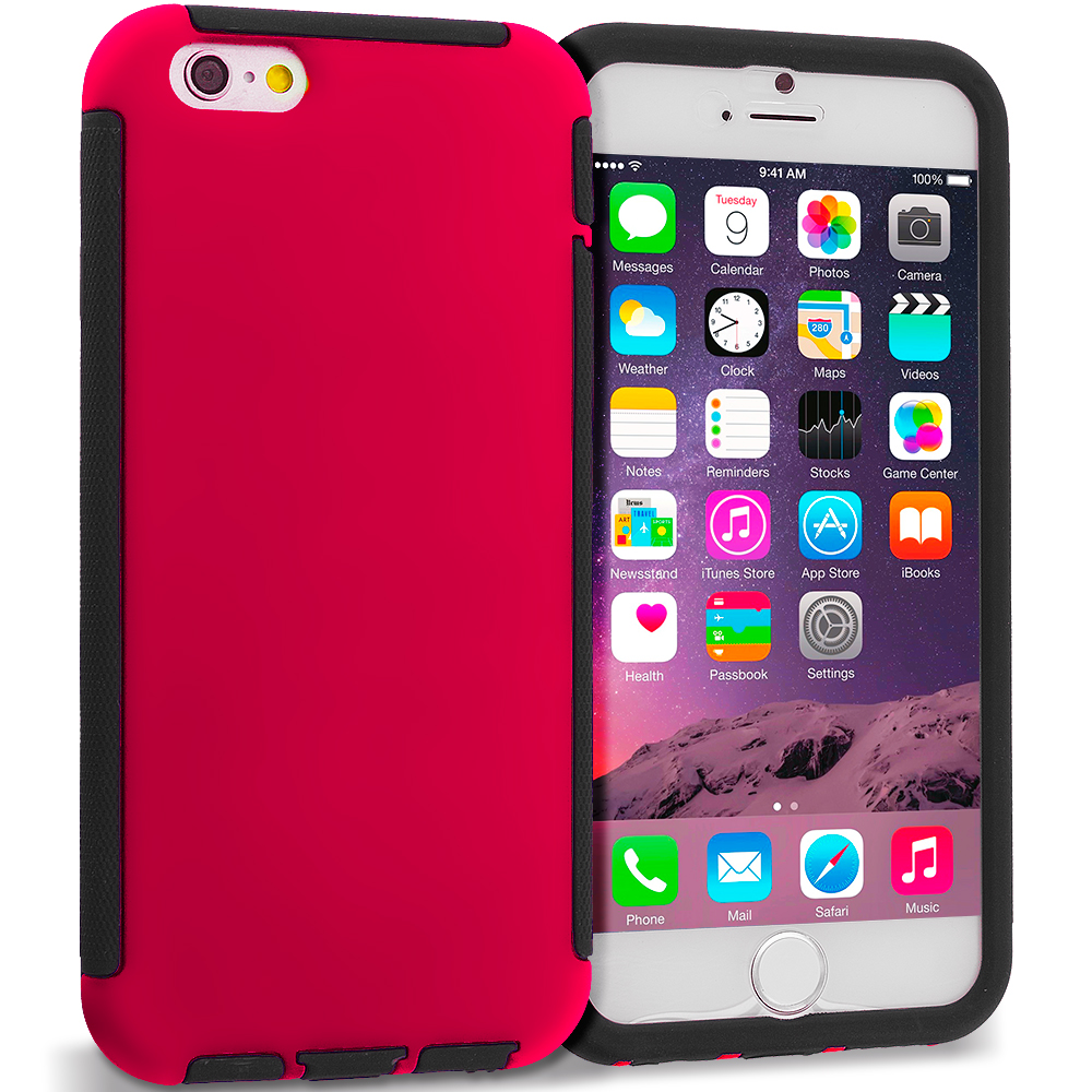 Apple iPhone 6 Plus 6S Plus (5.5) Black / Red Hybrid Hard TPU Shockproof Case Cover With Built in Screen Protector