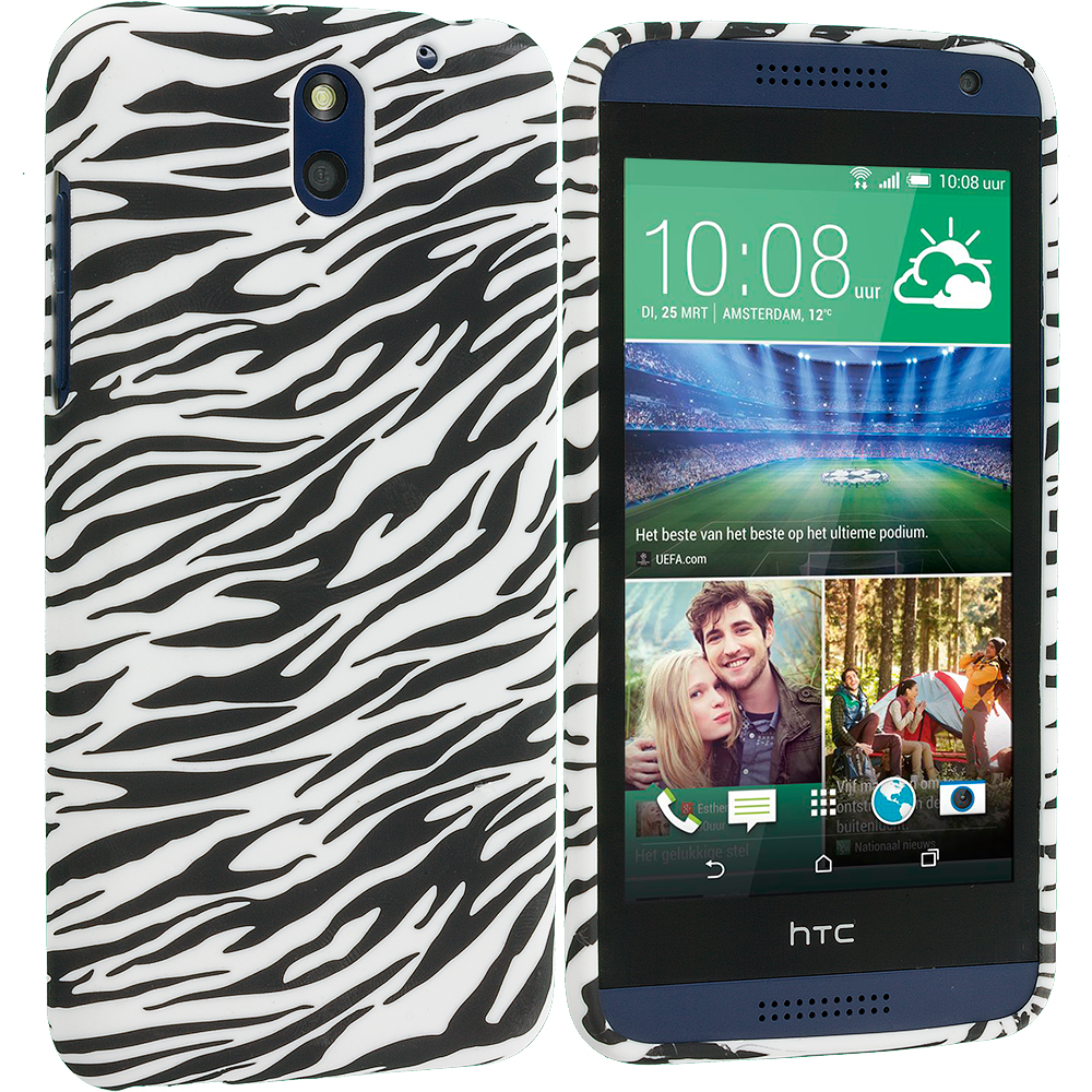 HTC Desire 610 Black White Zebra TPU Design Soft Rubber Case Cover