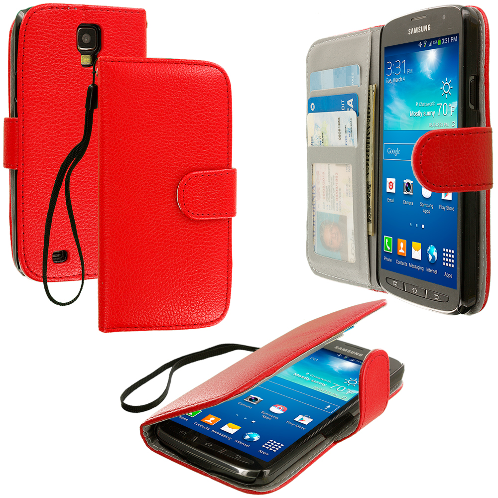 Samsung Galaxy S4 Active i537 Red Leather Wallet Pouch Case Cover with Slots