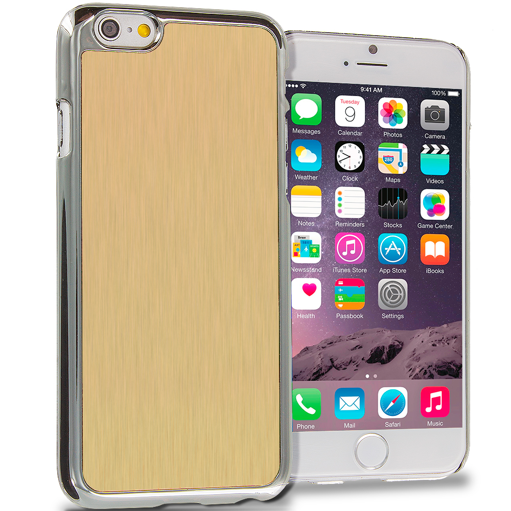 Apple iPhone 6 6S (4.7) 6 in 1 Combo Bundle Pack - Aluminum Metal Hard Case Cover : Color Gold Brushed