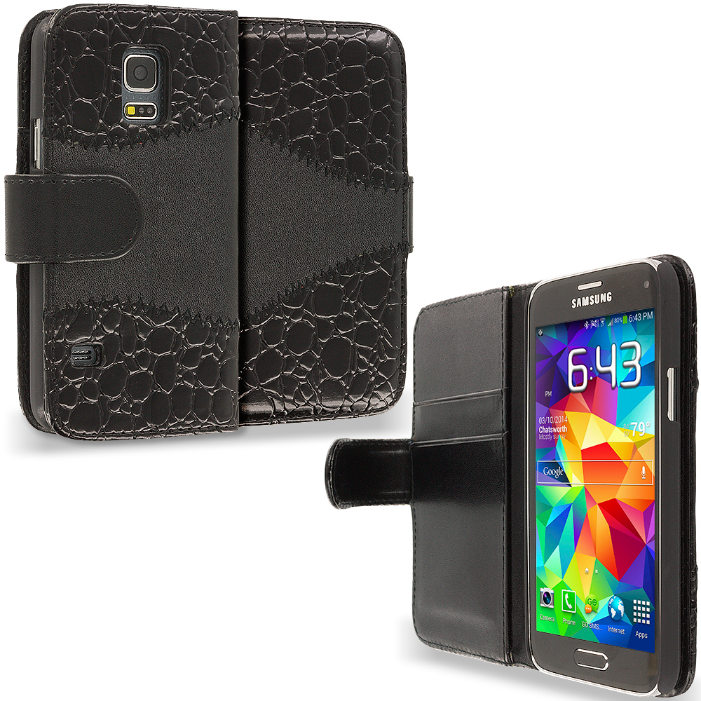Samsung Galaxy S5 Mini G800 Black Crocodile Leather Wallet Pouch Case Cover with Slots