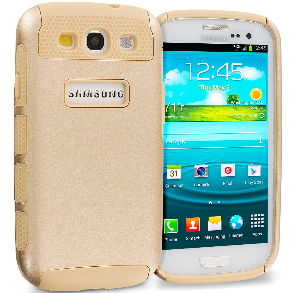 Samsung Galaxy S3 Gold / Gold Hybrid Hard TPU Honeycomb Rugged Case Cover