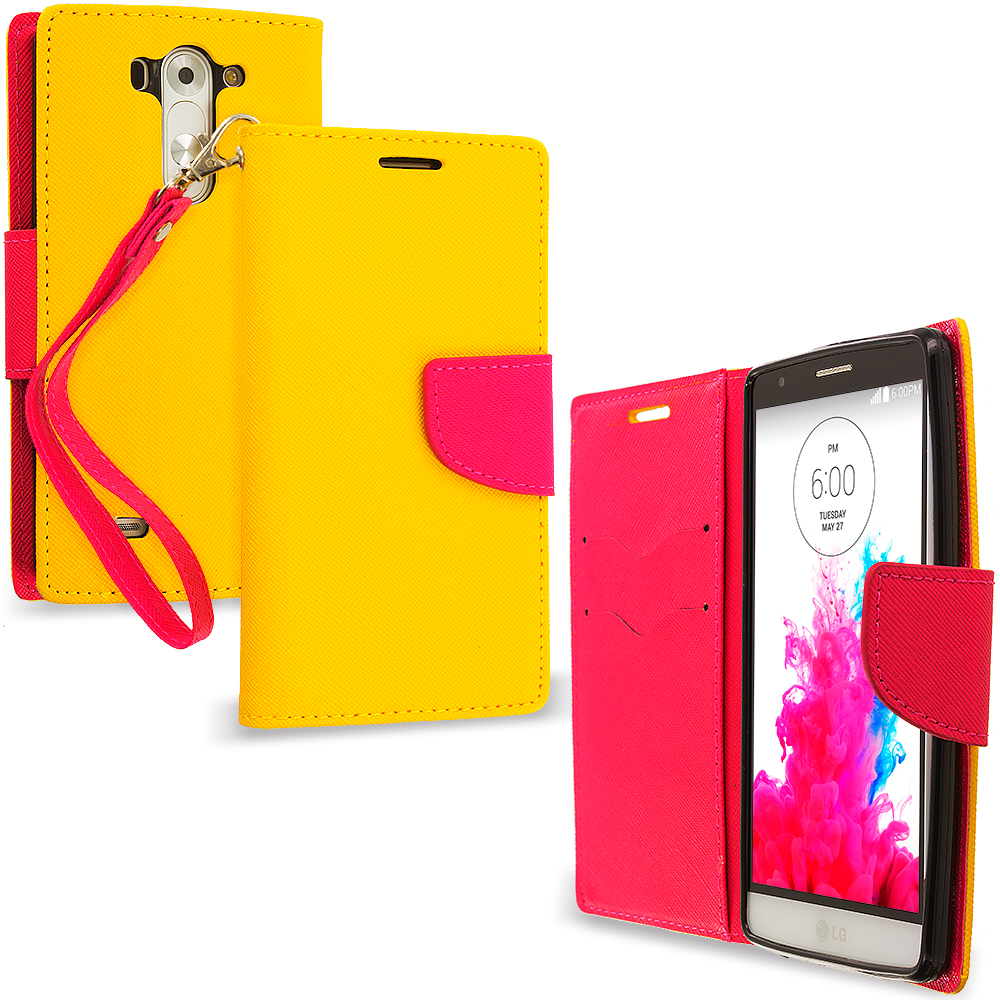 LG G3 Vigor D725 G3s Yellow / Hot Pink Leather Flip Wallet Pouch TPU Case Cover with ID Card Slots