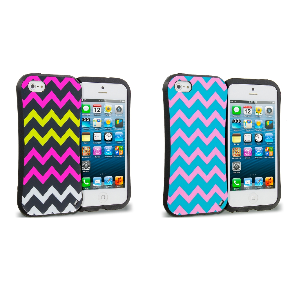 Apple iPhone 5 Combo Pack : Hot pink Wave Hybrid TPU Hard Soft Shockproof Drop Proof Case Cover