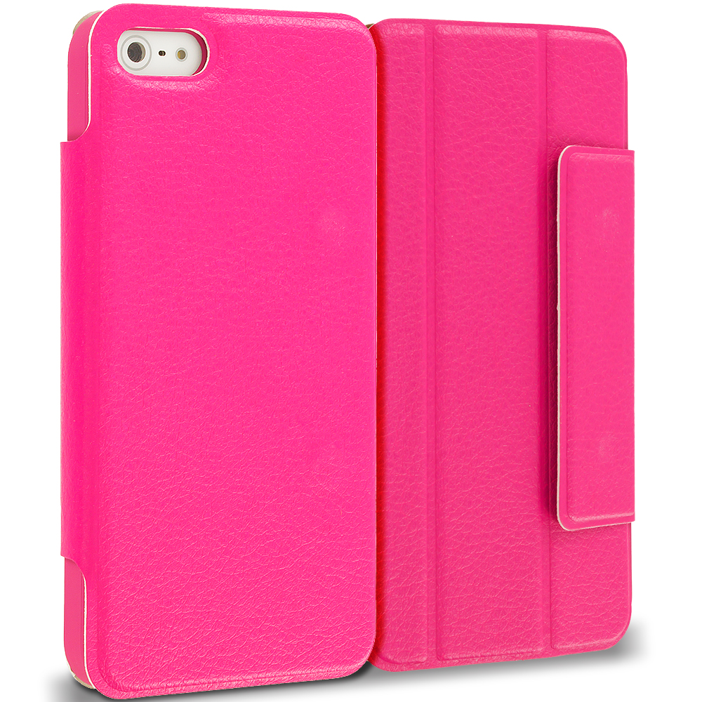 Apple iPhone 5 Hot Pink Tri-Fold Leather Wallet Case Cover Pouch