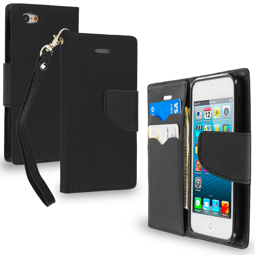 Apple iPod Touch 5th 6th Generation Black / Black Leather Flip Wallet Pouch TPU Case Cover with ID Card Slots
