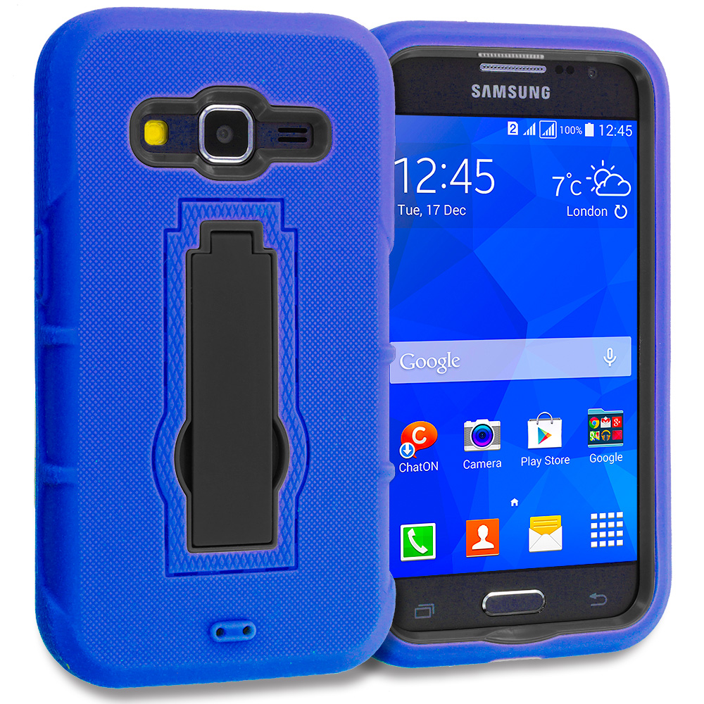 Samsung Galaxy Prevail LTE Core Prime G360P Blue / Black Hybrid Heavy Duty Hard Soft Case Cover with Kickstand