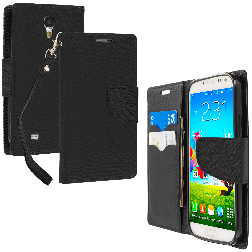 Samsung Galaxy S4 Black / Black Leather Flip Wallet Pouch TPU Case Cover with ID Card Slots