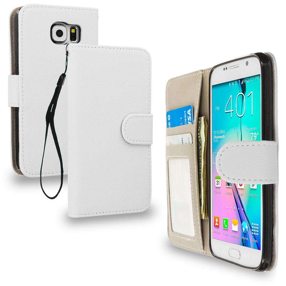 Samsung Galaxy S6 Combo Pack : Neon Green Leather Wallet Pouch Case Cover with Slots : Color White