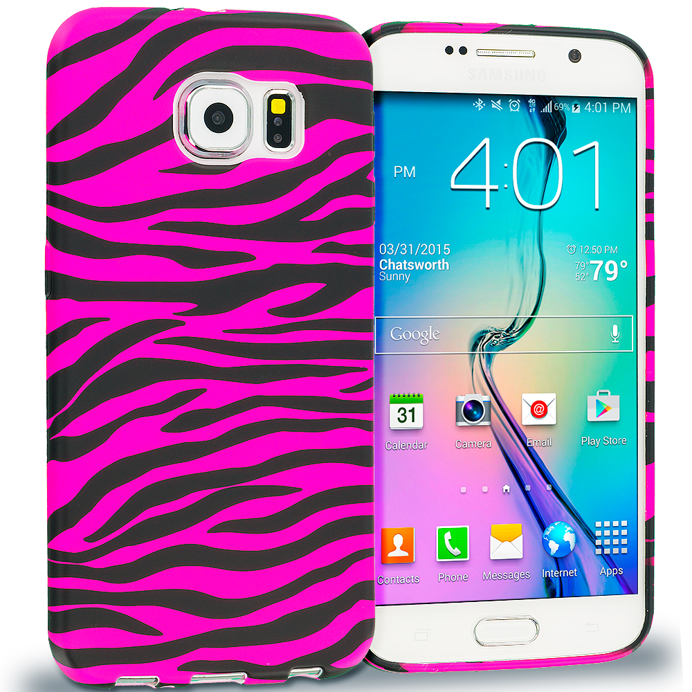 Samsung Galaxy S6 Combo Pack : Black / Hot Pink Zebra TPU Design Soft Rubber Case Cover : Color Black / Hot Pink Zebra