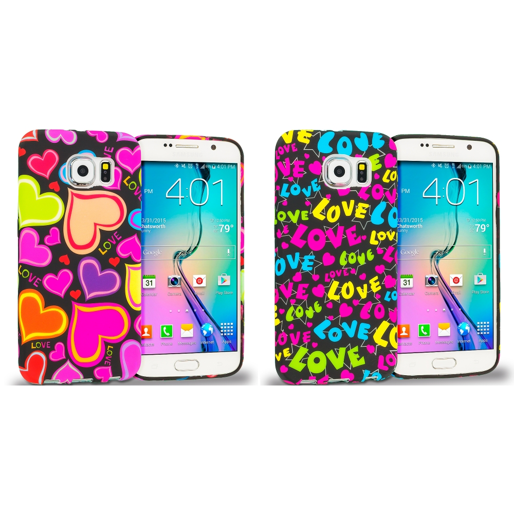 Samsung Galaxy S6 Combo Pack : Rainbow Hearts Black TPU Design Soft Rubber Case Cover