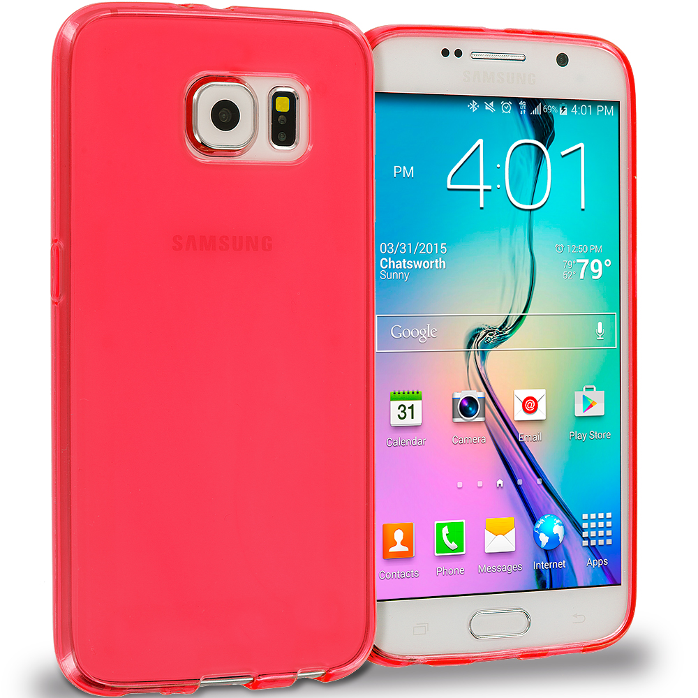 Samsung Galaxy S6 Combo Pack : Hot Pink Plain TPU Rubber Skin Case Cover : Color Red Plain