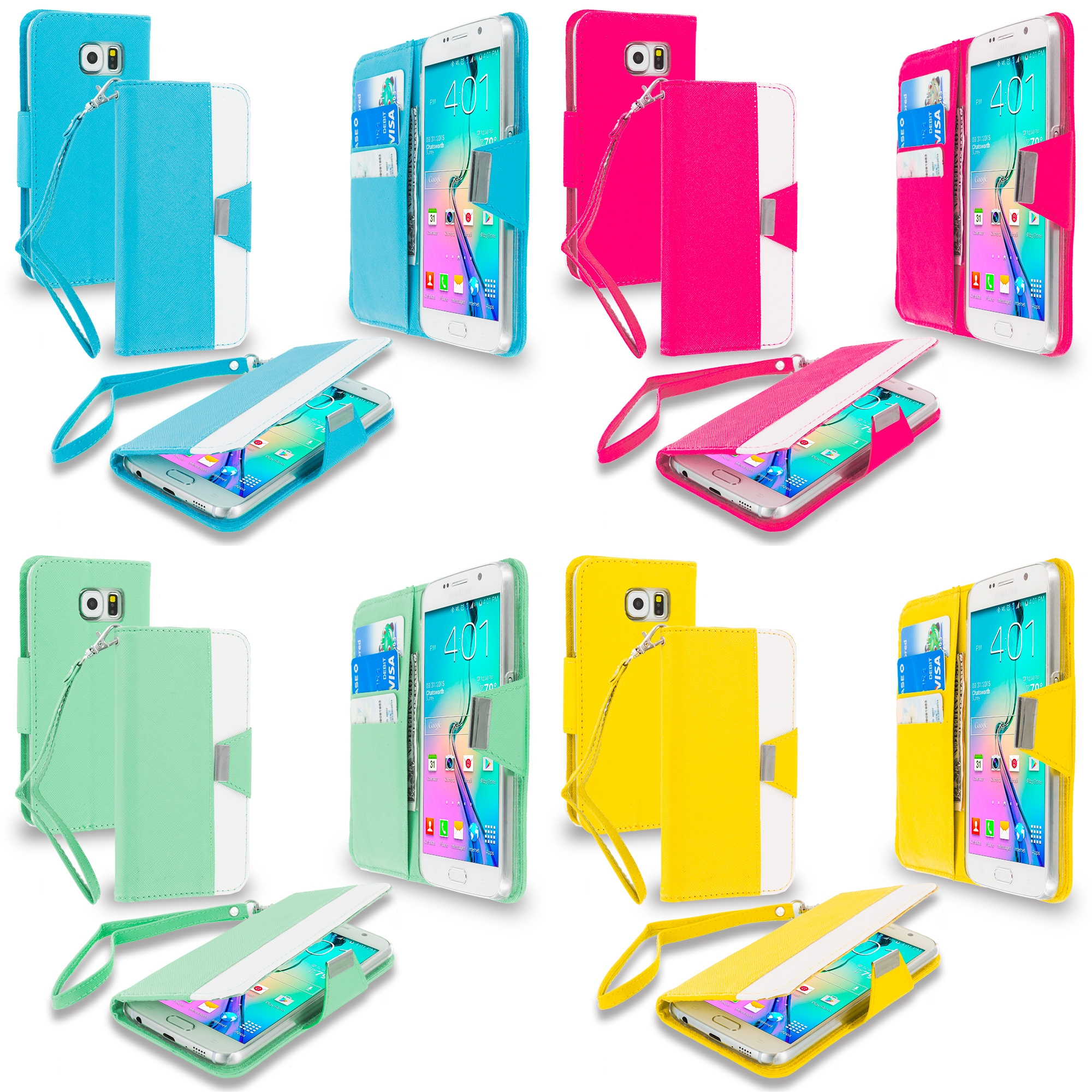 Samsung Galaxy S6 4 in 1 Combo Bundle Pack - Wallet Magnetic Metal Flap Case Cover With Card Slots