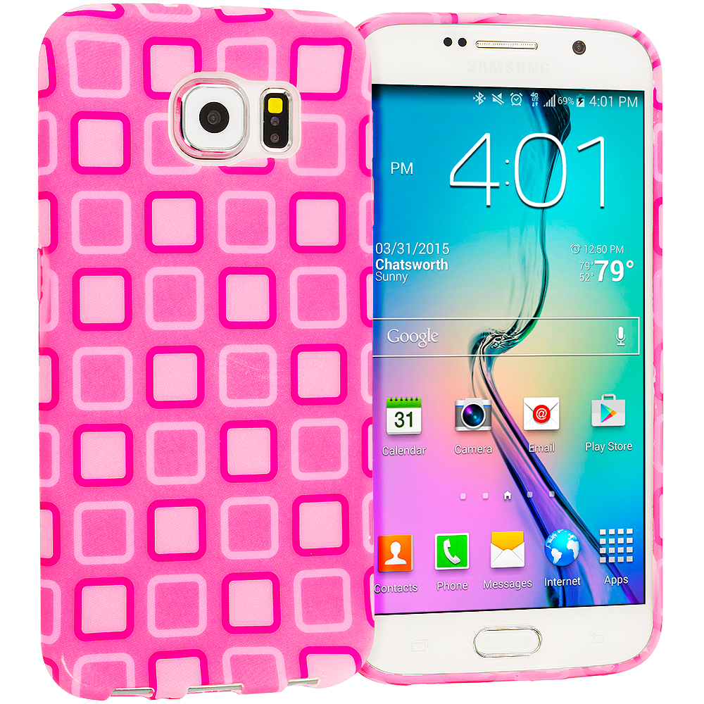 Samsung Galaxy S6 Edge Pink Squares TPU Design Soft Rubber Case Cover
