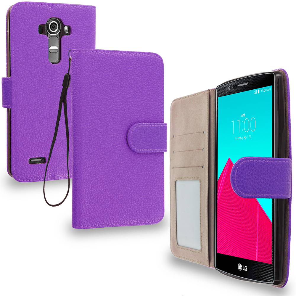 LG G4 Purple Leather Wallet Pouch Case Cover with Slots