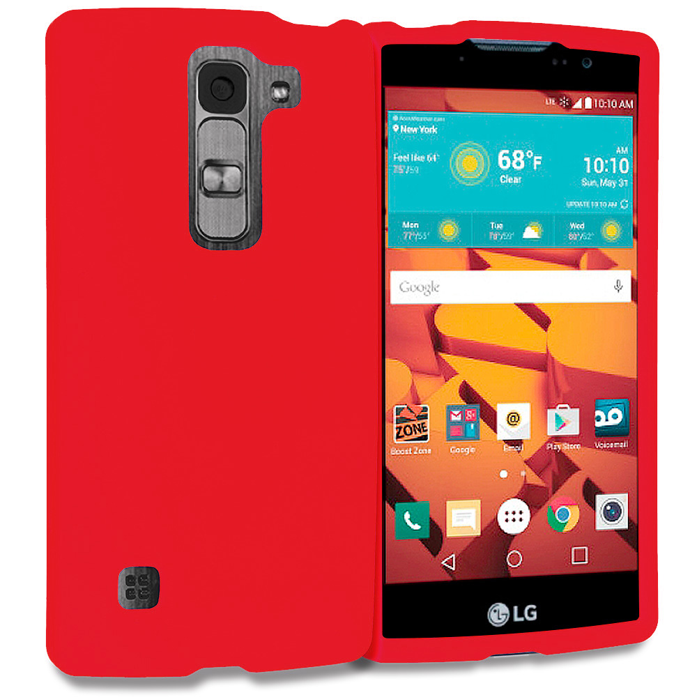 LG Volt 2 LS751 Red Hard Rubberized Case Cover