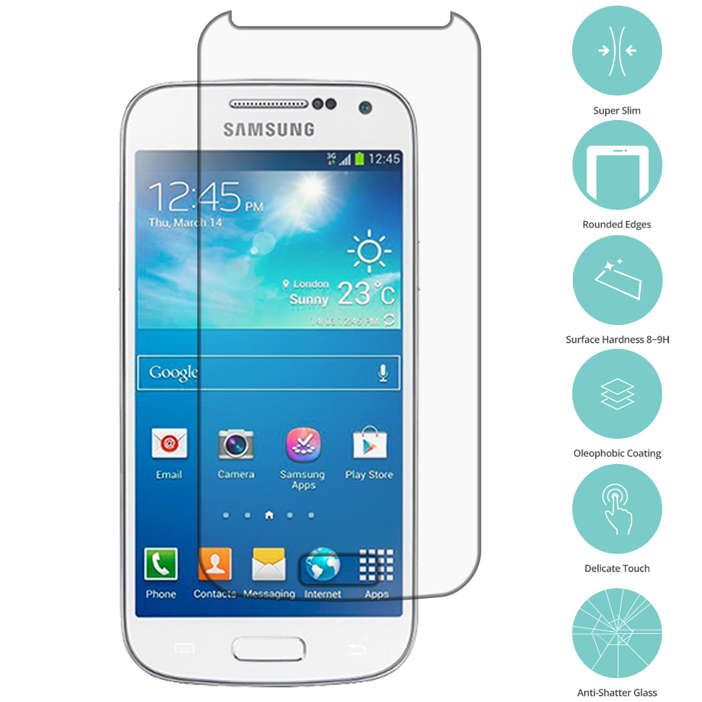 Samsung Galaxy S4 Mini i9190 Clear Tempered Glass Film Screen Protector Clear
