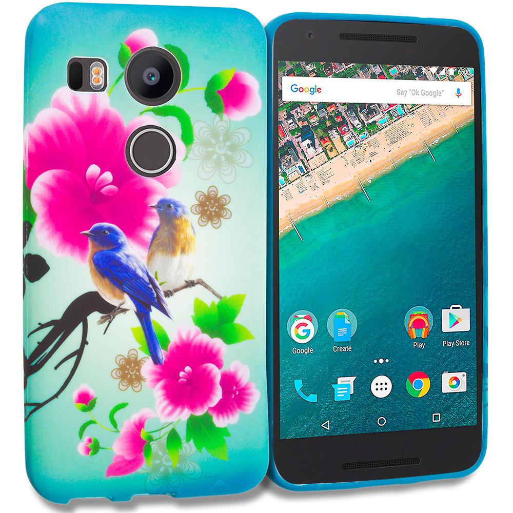LG Google Nexus 5X Blue Bird Pink Flower TPU Design Soft Rubber Case Cover