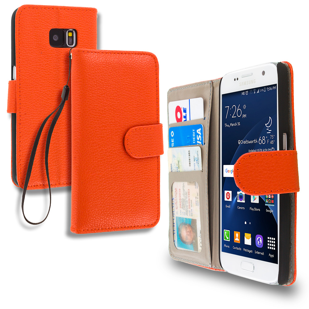 Samsung Galaxy S7 Combo Pack : Red Leather Wallet Pouch Case Cover with Slots : Color Orange