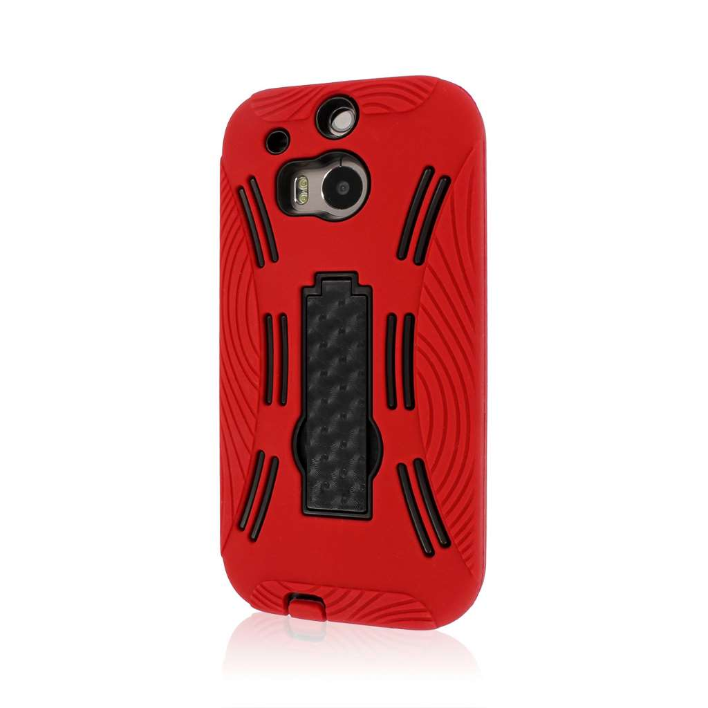 HTC One M8 M8 - Red MPERO IMPACT XL - Kickstand Case Cover