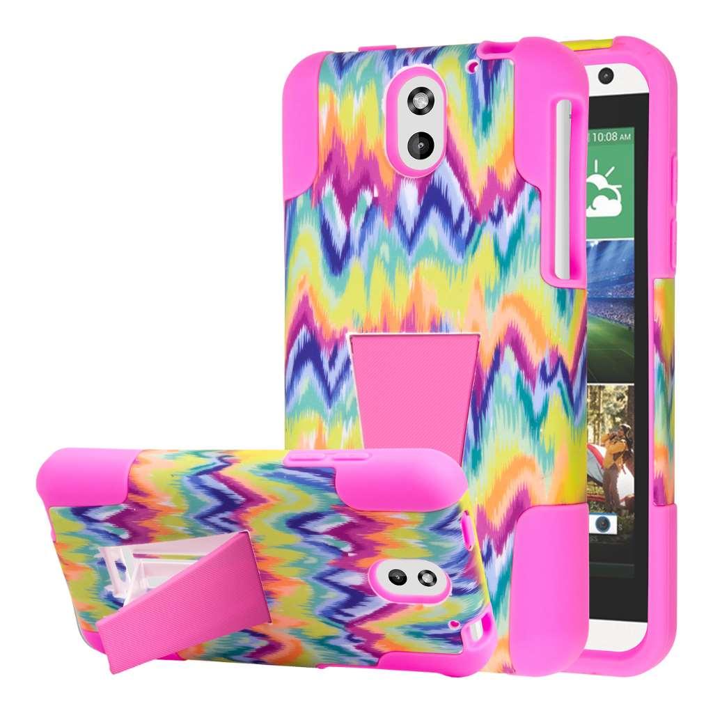 HTC Desire 610 - Pink Tie Dye Chevron MPERO IMPACT X - Kickstand Case Cover