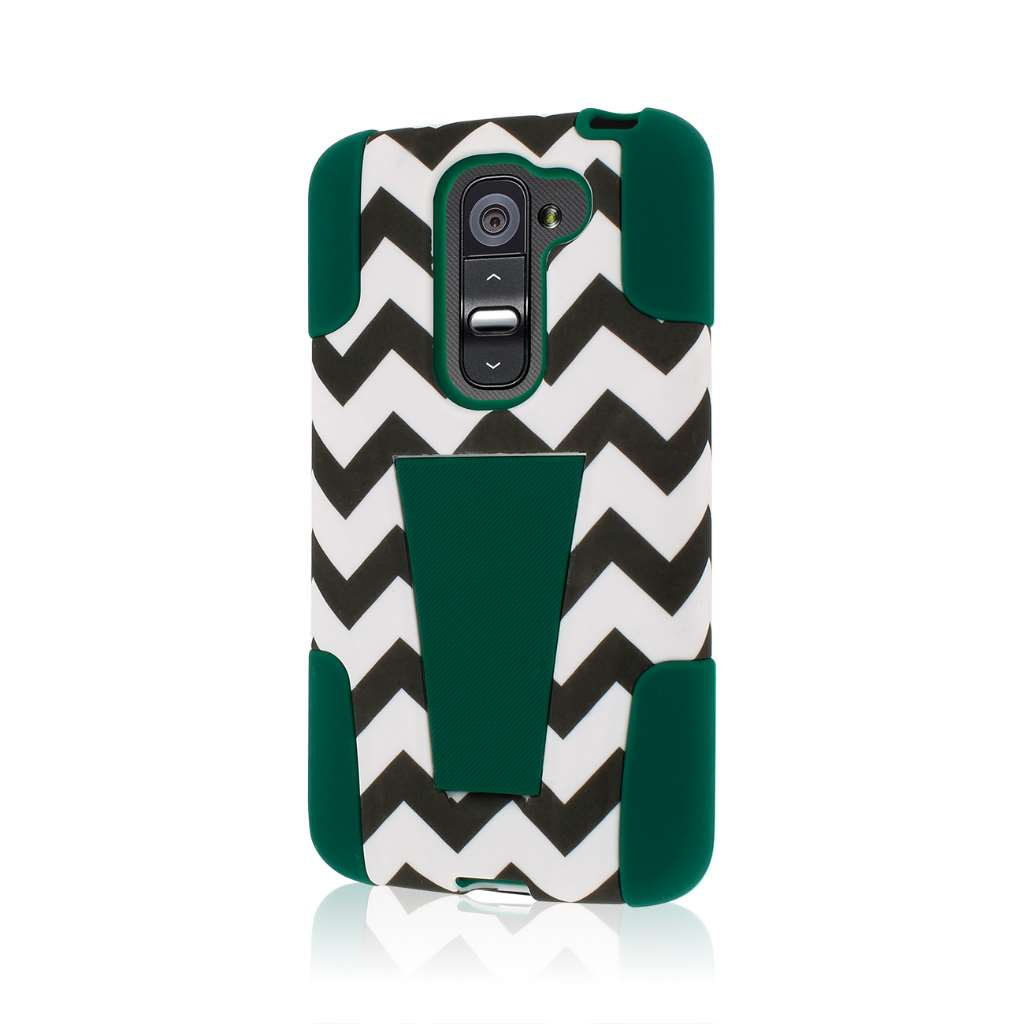LG G2 Mini - Teal Chevron MPERO IMPACT X - Kickstand Case Cover