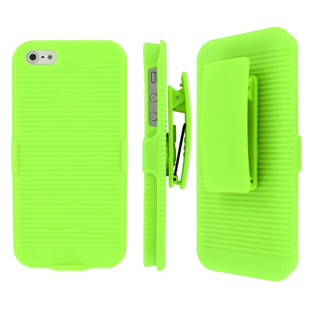 Apple iPhone 5/5S/SE Combo Pack : MPERO 3 in 1 Tough Kickstand Case Cover : Color Neon Green