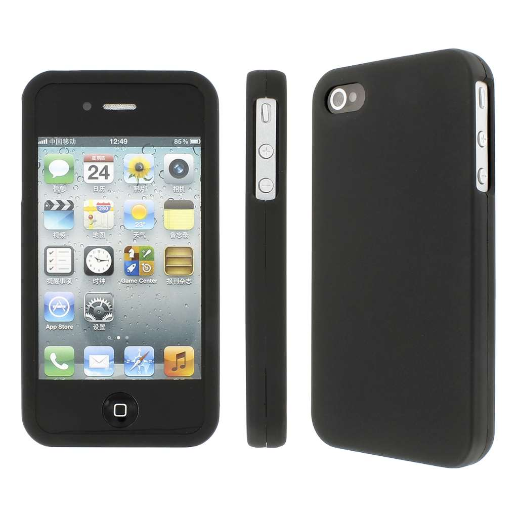 Apple iPhone 4/ 4S MPERO Full Protection Hard Rubberized Black Case Cover