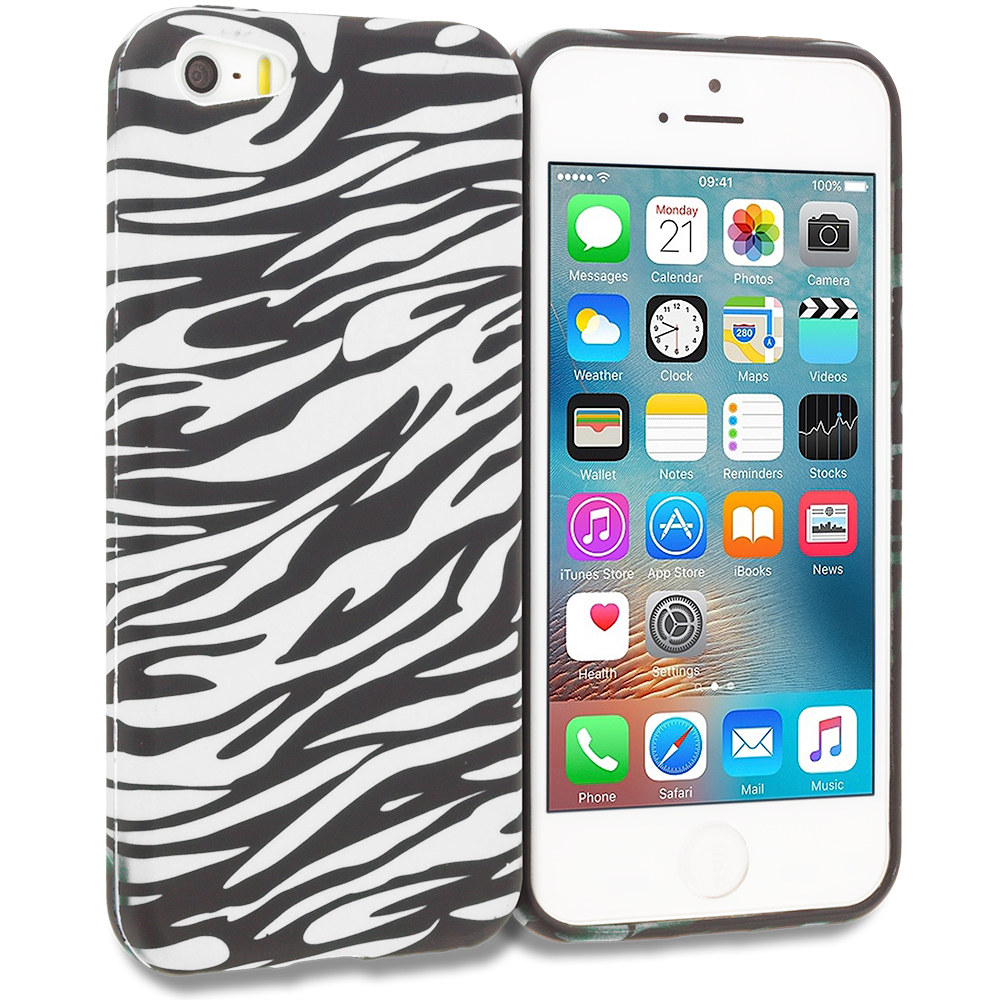 Apple iPhone 5/5S/SE Combo Pack : Black/Baby Blue Zebra TPU Design Soft Rubber Case Cover : Color Black/White Zebra