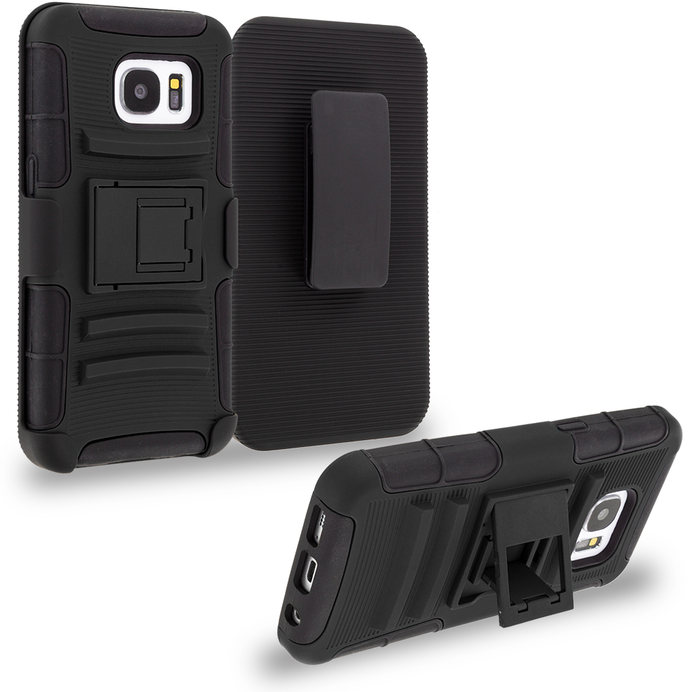Samsung Galaxy S7 Combo Pack : Black Hybrid Heavy Duty Rugged Case Cover with Belt Clip Holster : Color Black