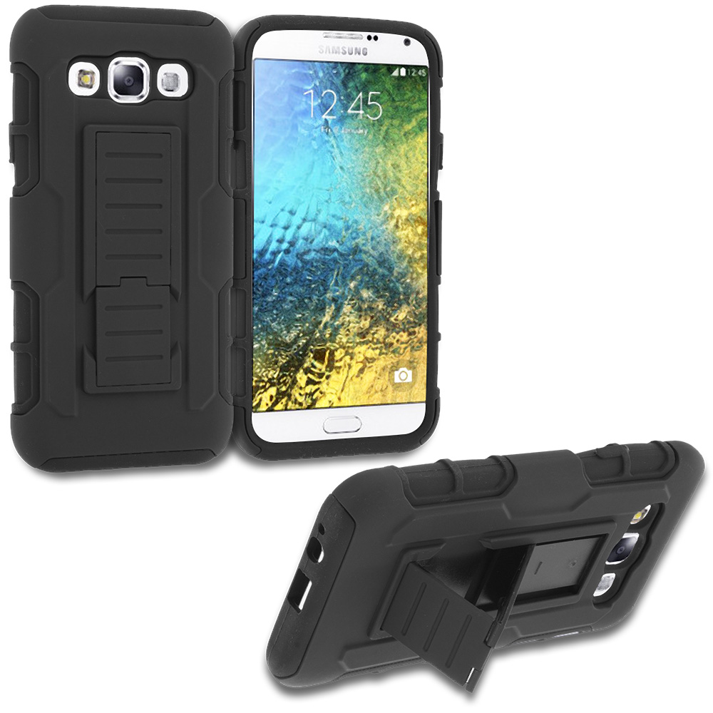 Samsung Galaxy E5 S978L Black Hybrid Shock Absorption Robot Armor Heavy Duty Case Cover with Belt Clip Holster