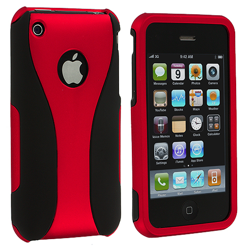 Apple iPhone 3G / 3GS Black / Red Hard Rubberized 3-Piece Case Cover