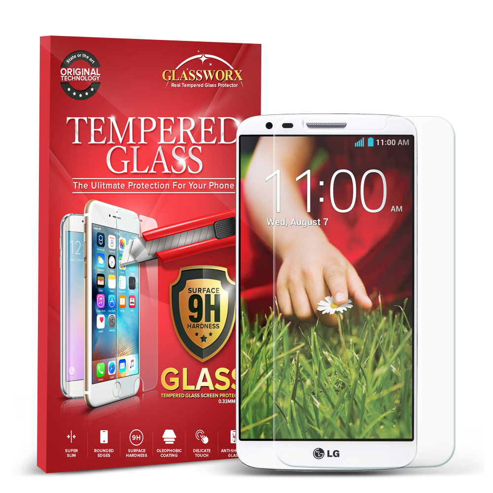 LG G2 Sprint, T-Mobile, At&t GlassWorX HD Clear Tempered Glass Screen Protector