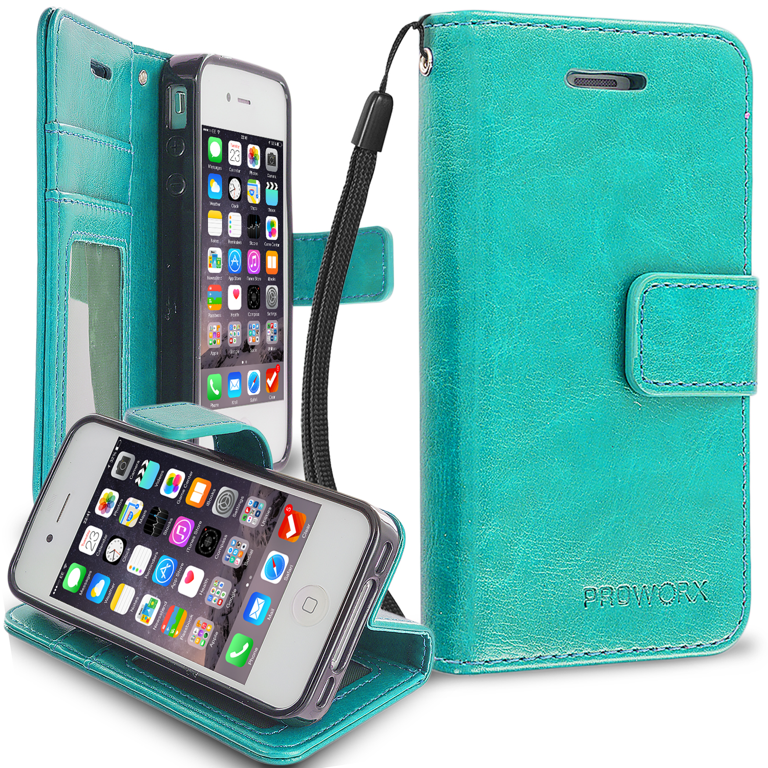 Apple iPhone 4 / 4S Mint Green ProWorx Wallet Case Luxury PU Leather Case Cover With Card Slots & Stand