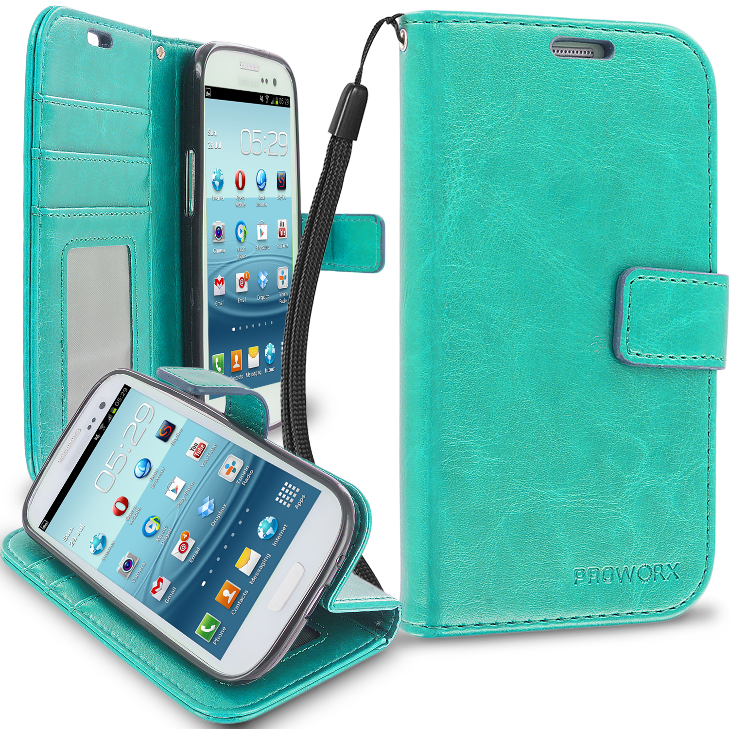 Samsung Galaxy S3 Mint Green ProWorx Wallet Case Luxury PU Leather Case Cover With Card Slots & Stand