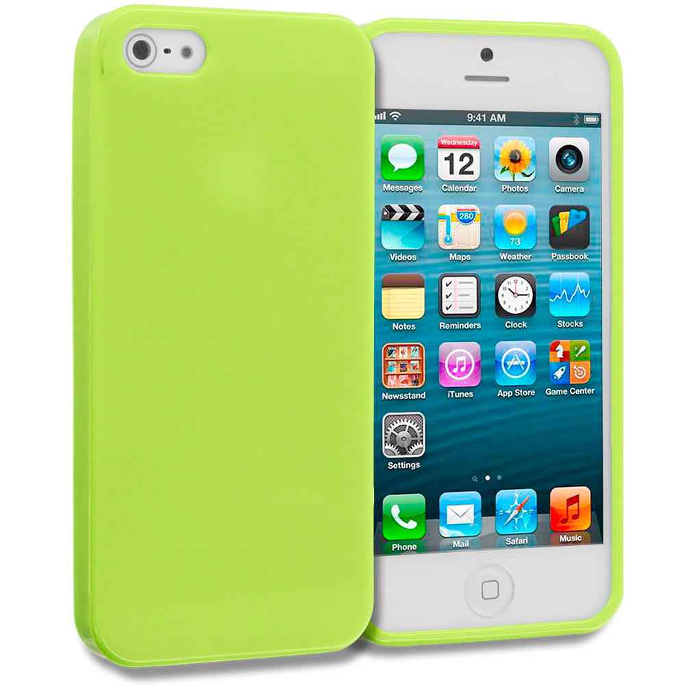 Apple iPhone 5 Neon Green Solid TPU Rubber Skin Case Cover