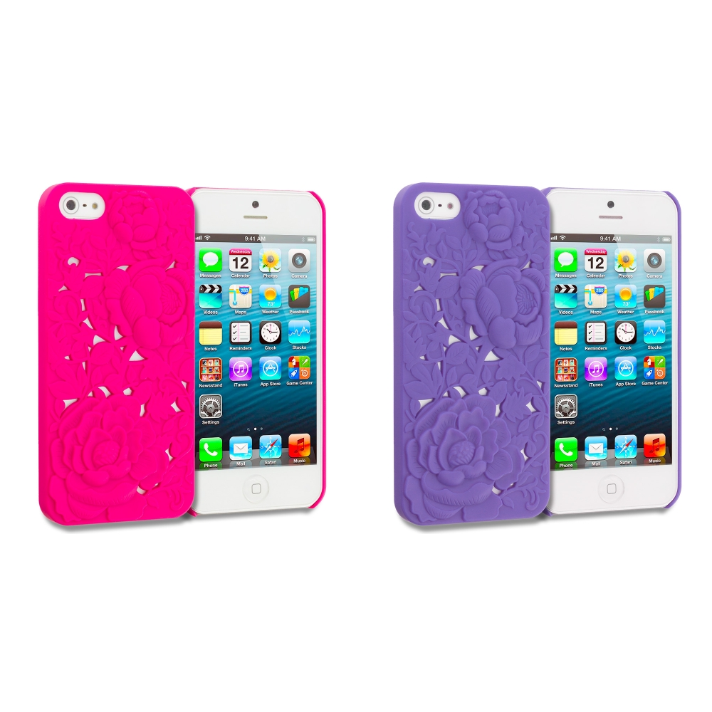 Apple iPhone 5/5S/SE 2 in 1 Combo Bundle Pack - Hot Pink Purple 3D Rose Hard Rubberized Back Cover Case