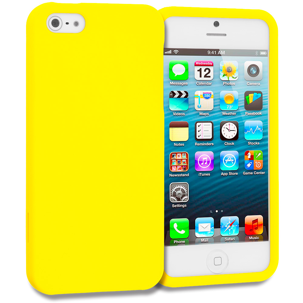 Apple iPhone 5/5S/SE Combo Pack : Baby Blue Hard Rubberized Case Cover : Color Yellow